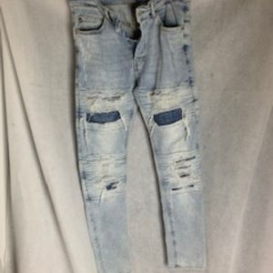 H&M Men's Button Fly Skinny Distressed Jeans 32 W